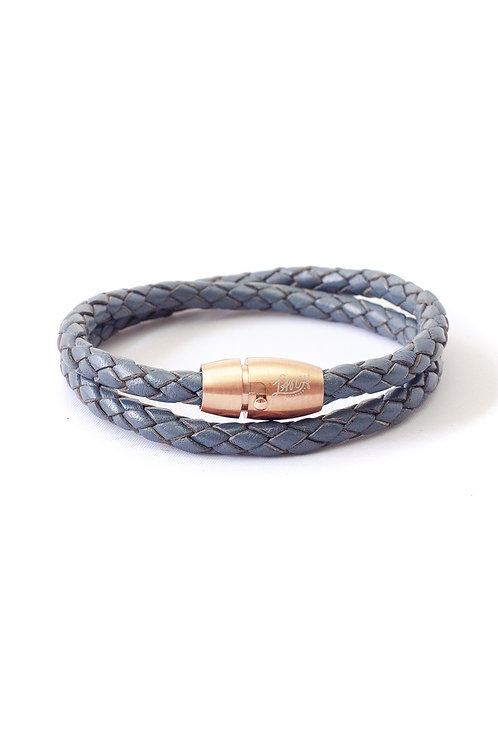 5mm Blue Double Wrap in Rose Gold Lock