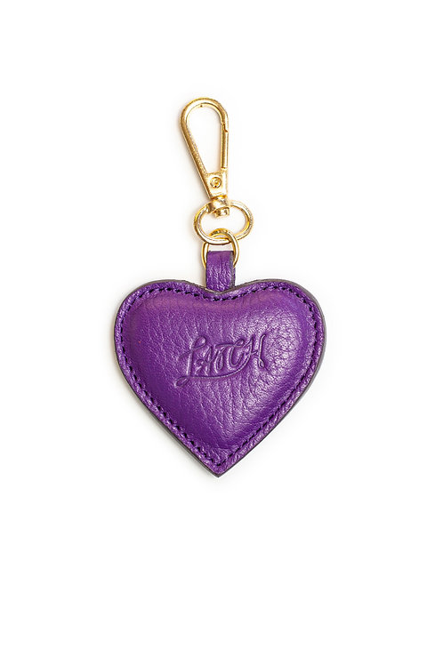 Heart Keychain in Plum Leather