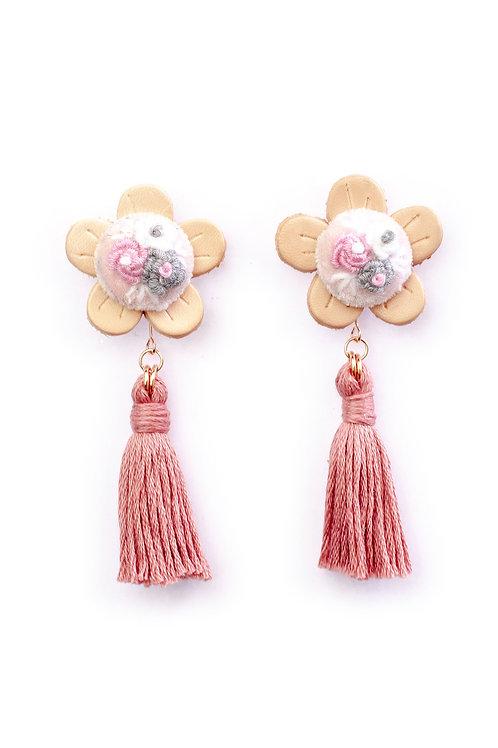 Floral Tassel Earrings in Pink