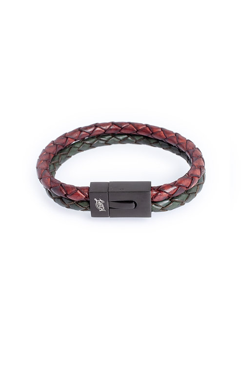 Duo 5mm Burnt Cherry & Antique Green Leather