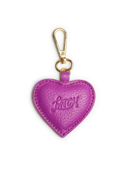Heart Keychain in Orchid Leather