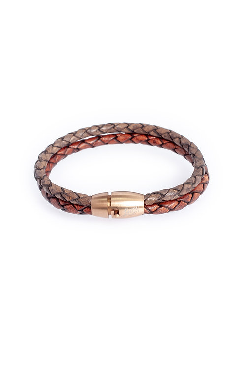 4mm Duo Distressed Brown & Antique Gray in Rose Gold