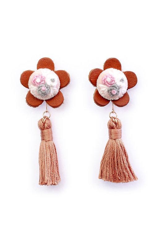 Floral Tassel Earrings in Brown Mouline