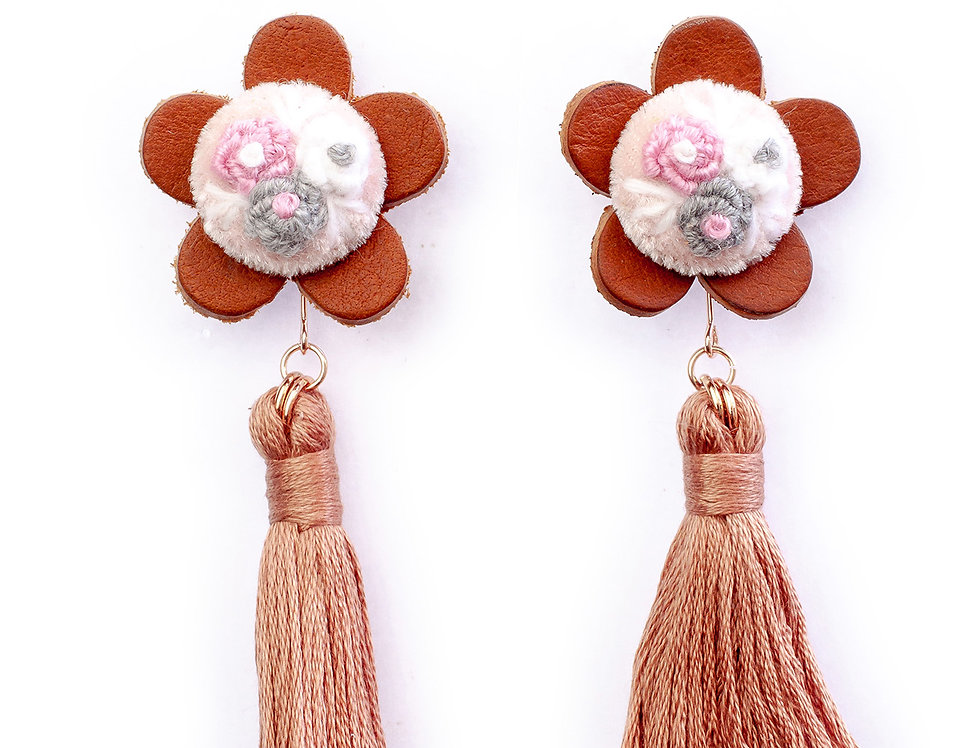 Floral Tassel Earrings in Brown Mouline