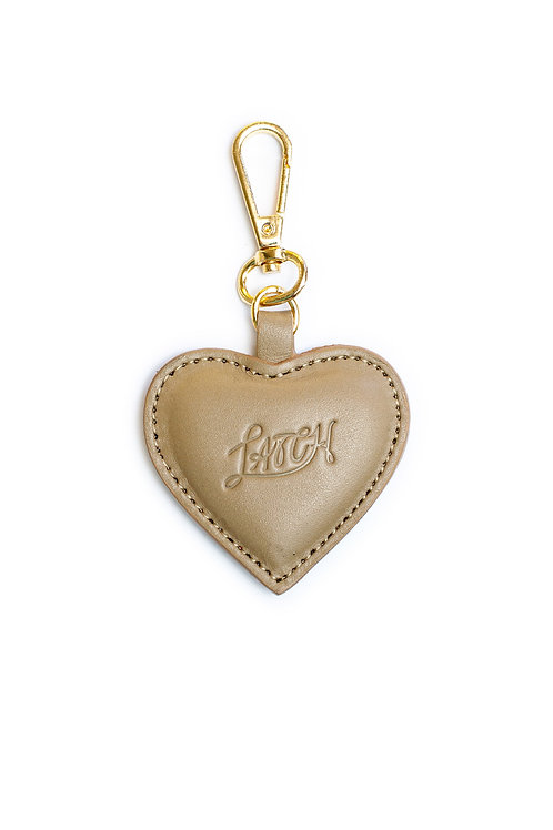 Heart Keychain in Iced Coffee Leather