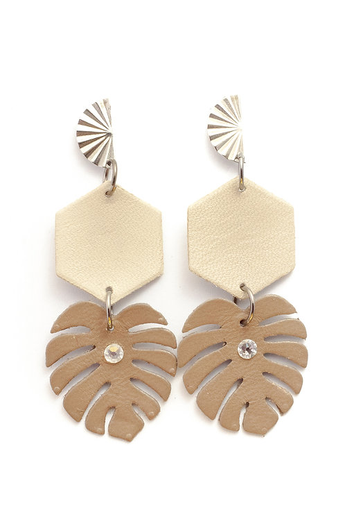 Monstera Dangle in Taupe