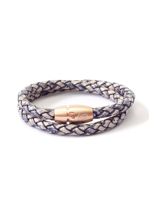 5mm Antique Navy Double Wrap in Rose Gold