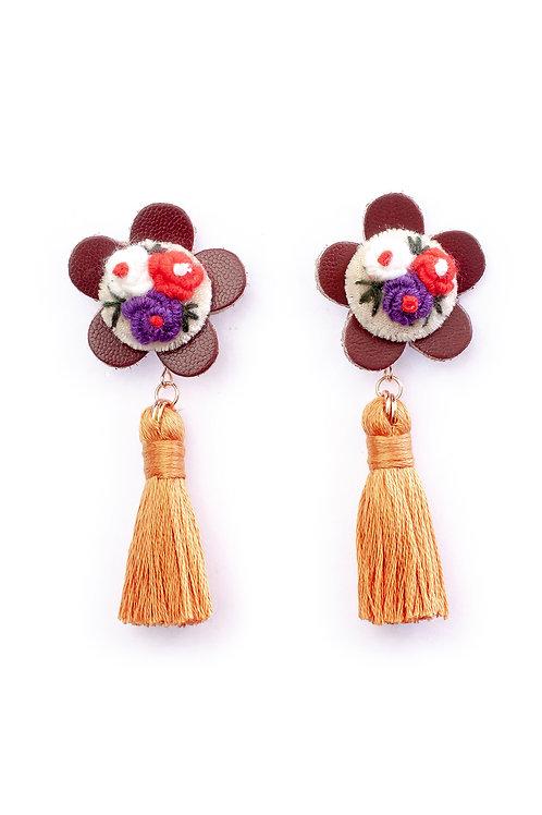 Floral Tassel Earrings in Orange
