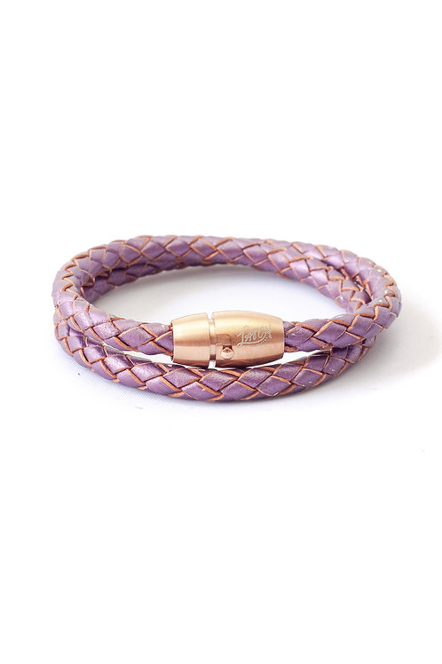 5mm Metallic Purple Double Wrap in Rose Gold Lock