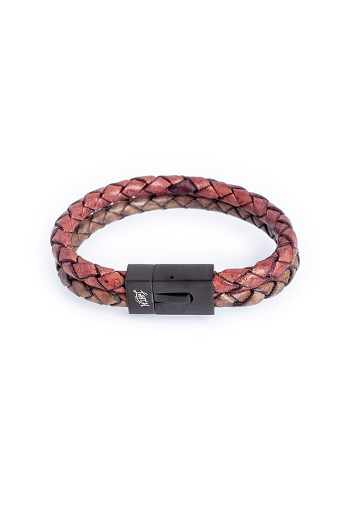 Duo 5mm Burgundy & Antique Gray Leather