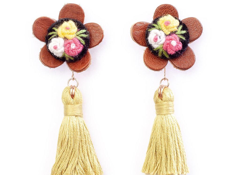Floral Tassel Earrings in Lime Green