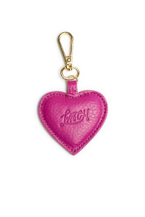Heart Keychain in Raspberry Leather
