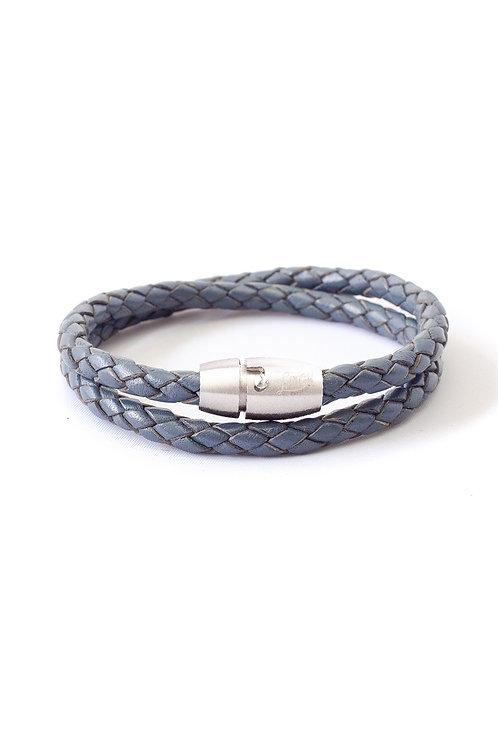 5mm Blue Double Wrap in Silver Lock