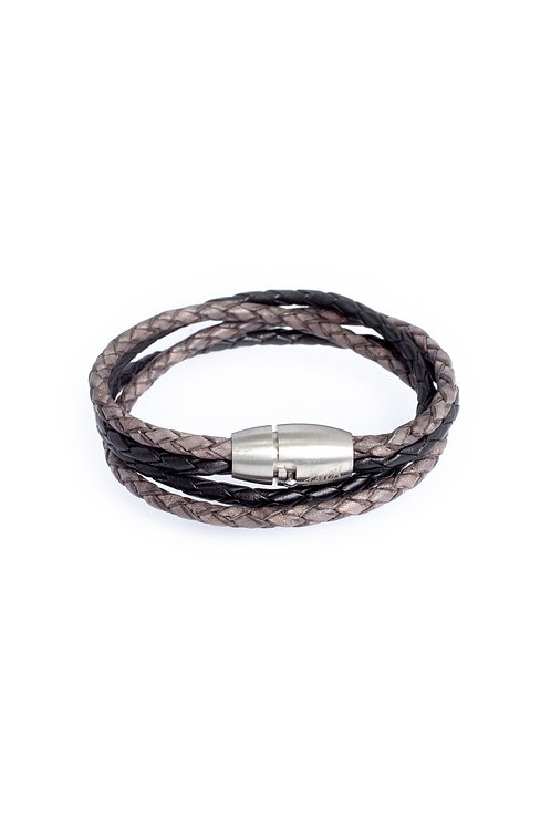 3mm Duo Antique Gray & Black Double Wrap Leather