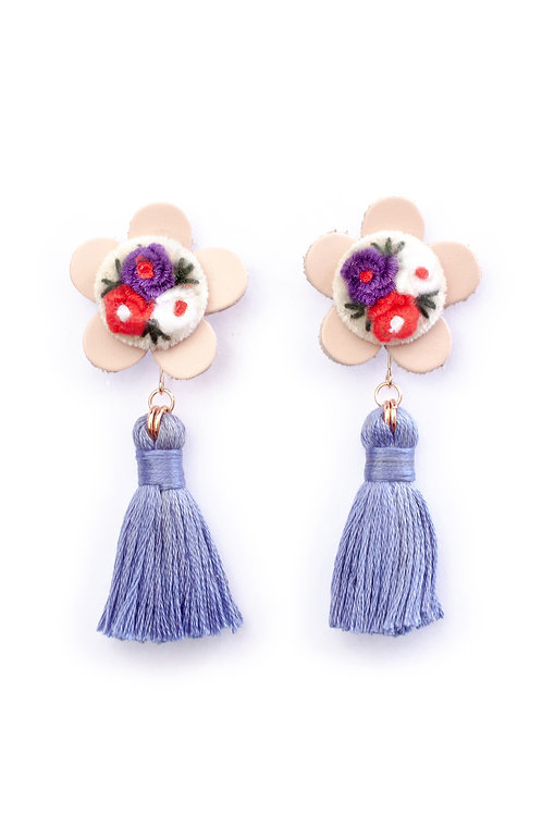 Floral Tassel Earrings in Periwinkle