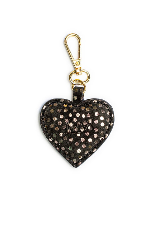 Heart Keychain in Midnight Leather