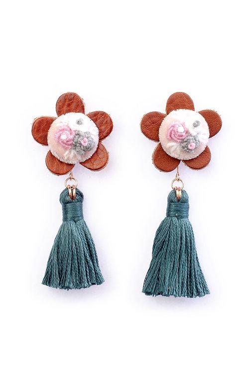 Floral Tassel Earrings in Dark Gray Green