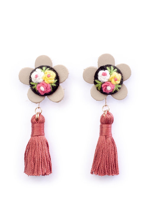 Floral Tassel Earrings in Dark Shell Pink