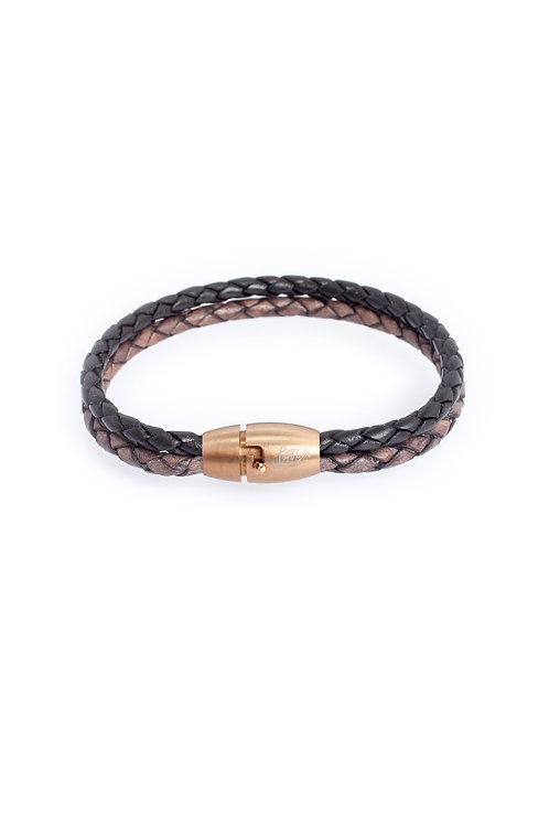 4mm Duo Black & Antique Gray in Rose Gold