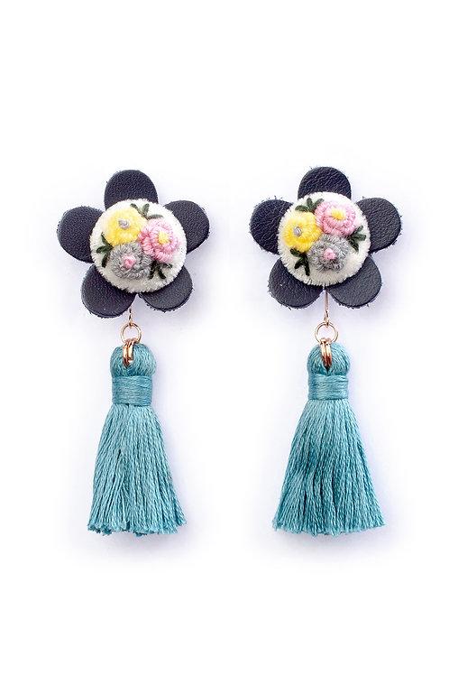 Floral Tassel Earrings in Dark Torquoise