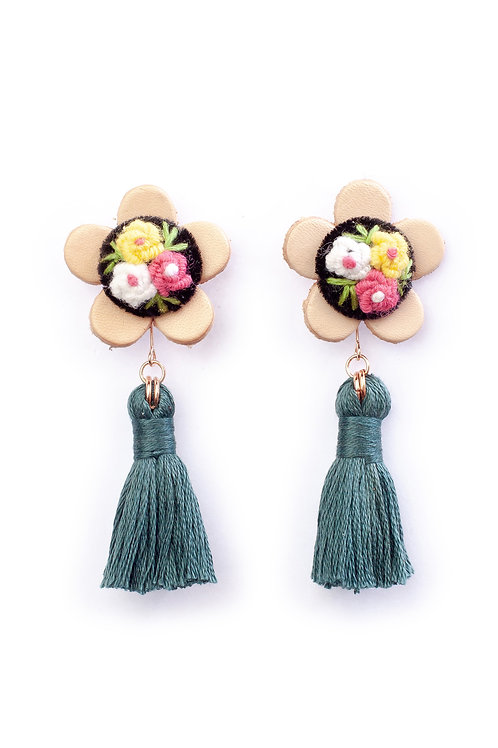 Floral Tassel Earrings in Dark Gray Green 02