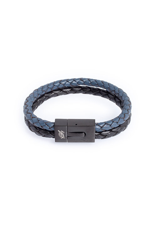 Duo 5mm Blue & Black Leather