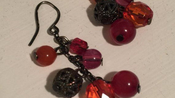 burnt color drop earrings