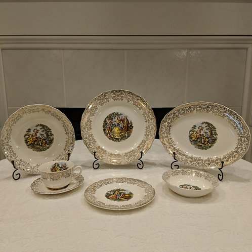 George and Martha Cream Transferware with 22 kt Gold Gilt