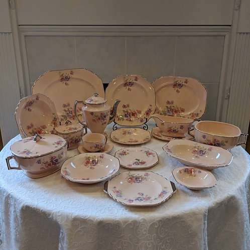 Limoges Pansey China with Platinum Band