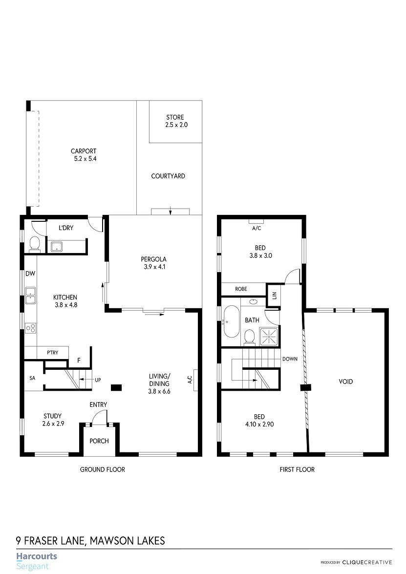 Floorplan - 9 Fraser Lane, Mawson Lakes.