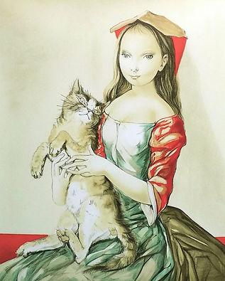 藤田嗣治『猫を抱いた頭巾の少女』