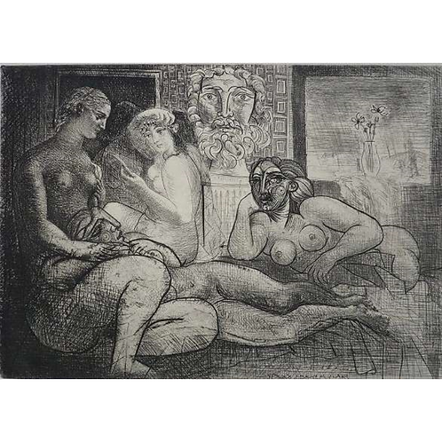 パブロ・ピカソ 四人の裸婦と首像