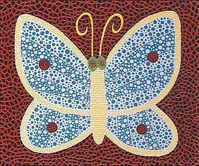 前衛芸術家。1929年、長野県松本市に生まれる。幼少期から幻視・幻聴を体験し、網模様や水玉をモチーフにした絵画を制作し始める。様々なオブセッションを乗り越え、作品制作を通して、強迫的な反復による自己消滅という救済を見出す。1957年に渡米後はより抽象度の高いネットペインティング、ソフトスカルプチャー、ミラールームなどのインスタレーションやハプニングなど多様な展開を見せ、前衛芸術家としての地位を確立。以降、世界各地の美術館で展覧会を行う。近年ではテートモダンやポンピドゥーセンターでの大規模回顧展が多大な反響を呼び、中南米巡回ツアーとアジア巡回ツアーでの動員により、2014年に美術館動員最多記録を更新。2017年より、ワシントンのハーシュホン美術館を皮切りに、北米ツアーが巡回中。2016年文化勲章を受賞。 草間彌生は2005年に1億円を超える価格で落札され、10年以降はほぼコンスタントに落札額を上げている。2019年4月1日には更にレコードを更新し、アジア人女性の作品としては最高額の落札となった。