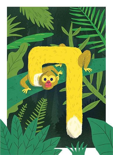 קוף - האות ק׳ איור letter