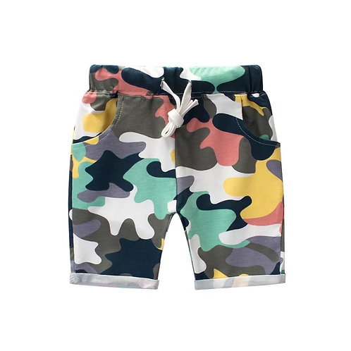 Colorful Camo Print Shorts