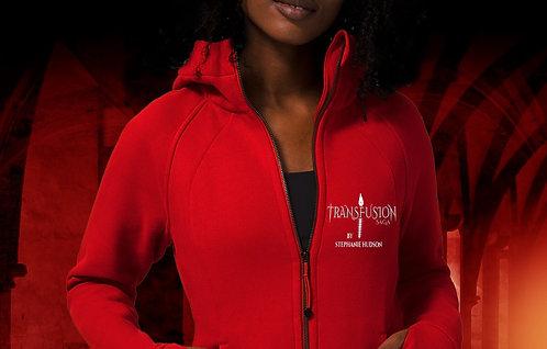 Zipped Red Hoodie Transfusion Logo