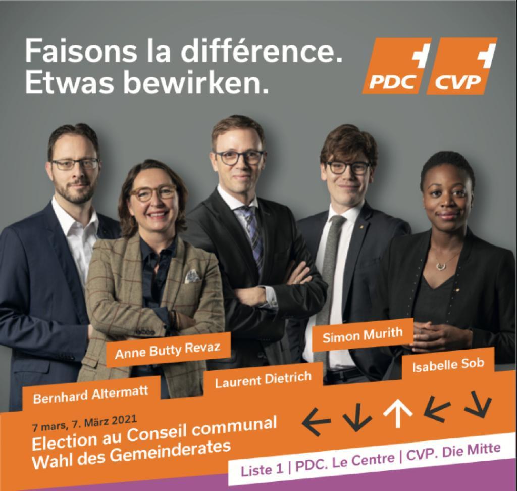 Elections 2021 au Conseil communal - PDC-Le Centre Liste 1