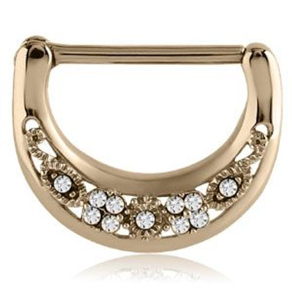 Gold PVD Cast Steel Filigree Gems Nipple Clicker