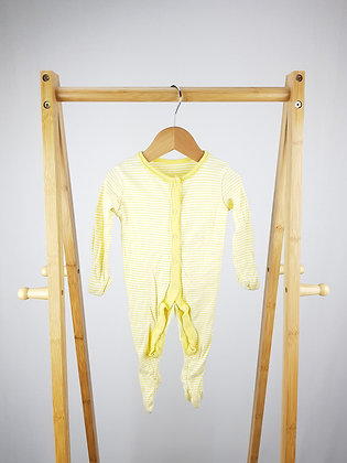 F&F yellow striped sleepsuit 3-6 months