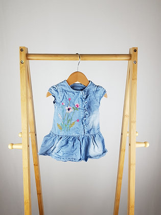 Mothercare embroidered denim dress 0-3 months