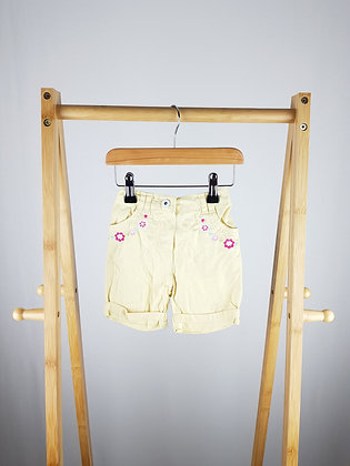 George embroidered yellow shorts 9-12 months