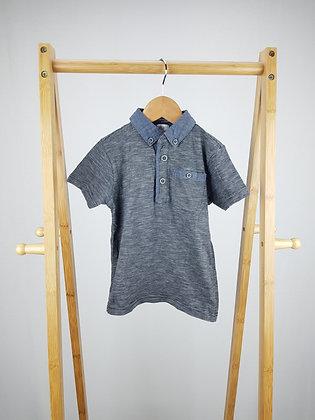 F&F blue marl polo shirt 3-4 years