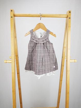 Matalan checked lace trim dress 3-6 months