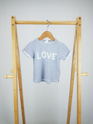 H&M love striped t-shirt 6-9 months
