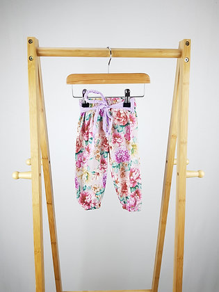 Floral harem trousers with belt 3-6 months