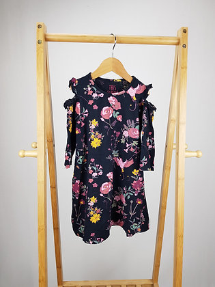 F&F floral 3/4 sleeve cold shoulder dress 5-6 years