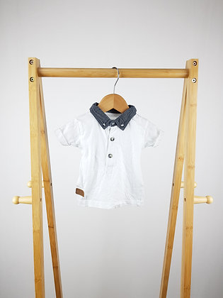 Early days white polo shirt 6-9 months