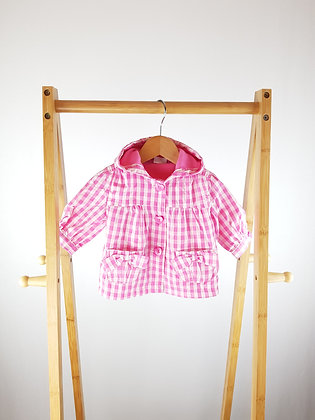 F&F pink checked light coat 0-3 months