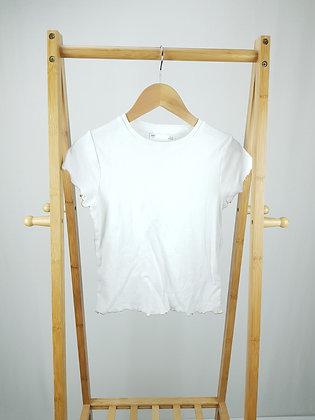 M&S white ribbed t-shirt 10-11 years