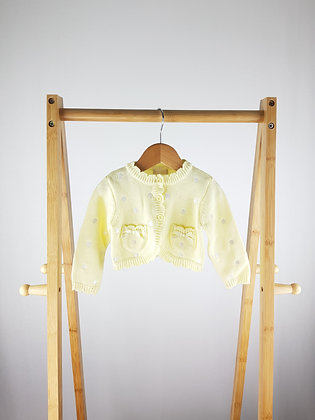 BHS yellow knitted cardigan 6-9 months